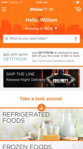 Amazon PrimeNow App